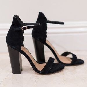 Saks Fifth Ave Scalloped Suede Heels